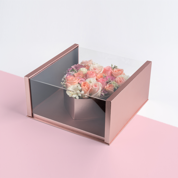 surprise heart shape box by one hour florist
